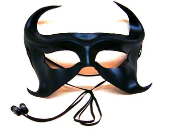 Black Leather Mask, Sexy Ebony Eyemask with Small Horns, Dark Fairy Halfmask. Handcrafted Lightweight Black Masquerade Piece (M136)