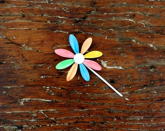 60's FLOWER POWER BROOCH - Bright / Hippie / Groovy / Neon / Classic / Mod