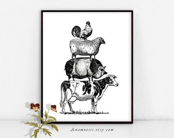 FARM ANIMAL PYRAMID - digital download - printable graphic vintage image by Anamnesis - image transfer - totes, pillows, prints, clothes