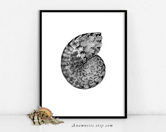 Sea Shell Art Print - SEA SHELL TAPESTRY In Black - Instant Download - printable ocean illustration for beach house, totes, framing, cards