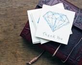 10 Card Set - Hand Drawn Greeting Card - Thank you Card - Diamond
