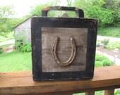 Lucky Horseshoe Box, Hinged Box, Horse Shoe, Wooden, Farm Fresh Hand Made, Handmade, Handle, Black, Equestrian, Horse Lover, Farrier, Equine