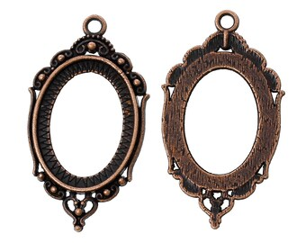 2pc Antique Copper Cabochon Settings - Fits 18x25mm - Ships from USA, Jewelry Findings, Cab Setting, Cameo Setting, Copper Setting - S41