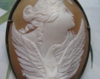 Antique Mythological Cameo, Sterling Roycroft Frame, Shell cameo, Zeus Cameo, Flora, Fine Estate Jewelry, Greek Mythology, Roycroft Silver
