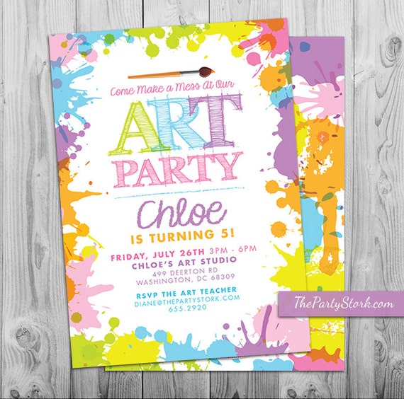 art paint party invitations printable birthday invitation pastel