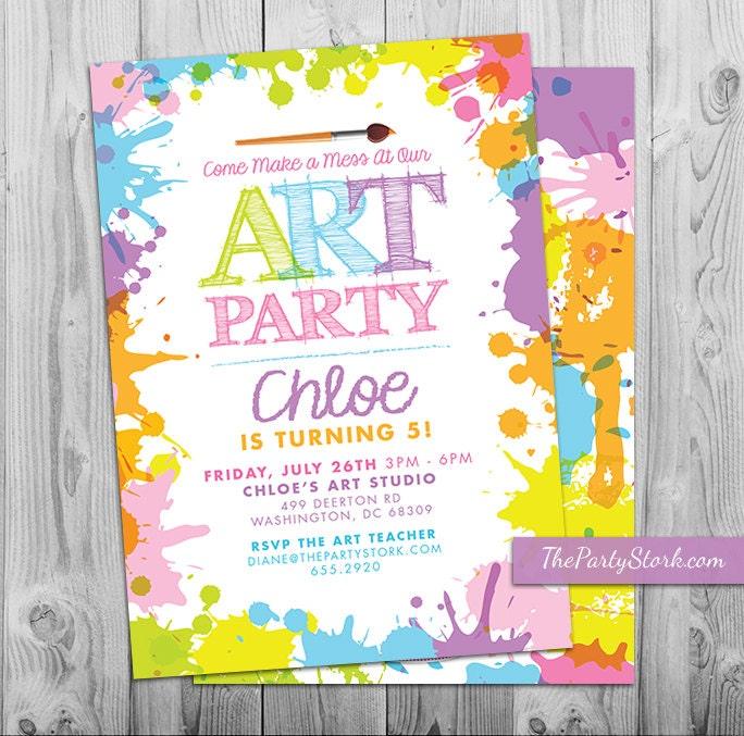 Art Paint Party Invitations: Printable Birthday Invitation