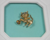 Avon 1974 Cat Brooch, Cat with Bell, Animal Figural, Book Piece