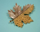 BSK Leaf Brooch or Pin, Gold Tone and Taupe Enamel, Classic Vintage