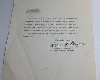Rare FBI Letter DOJ Anti-trust Funeral Ephemera Autograph Typo