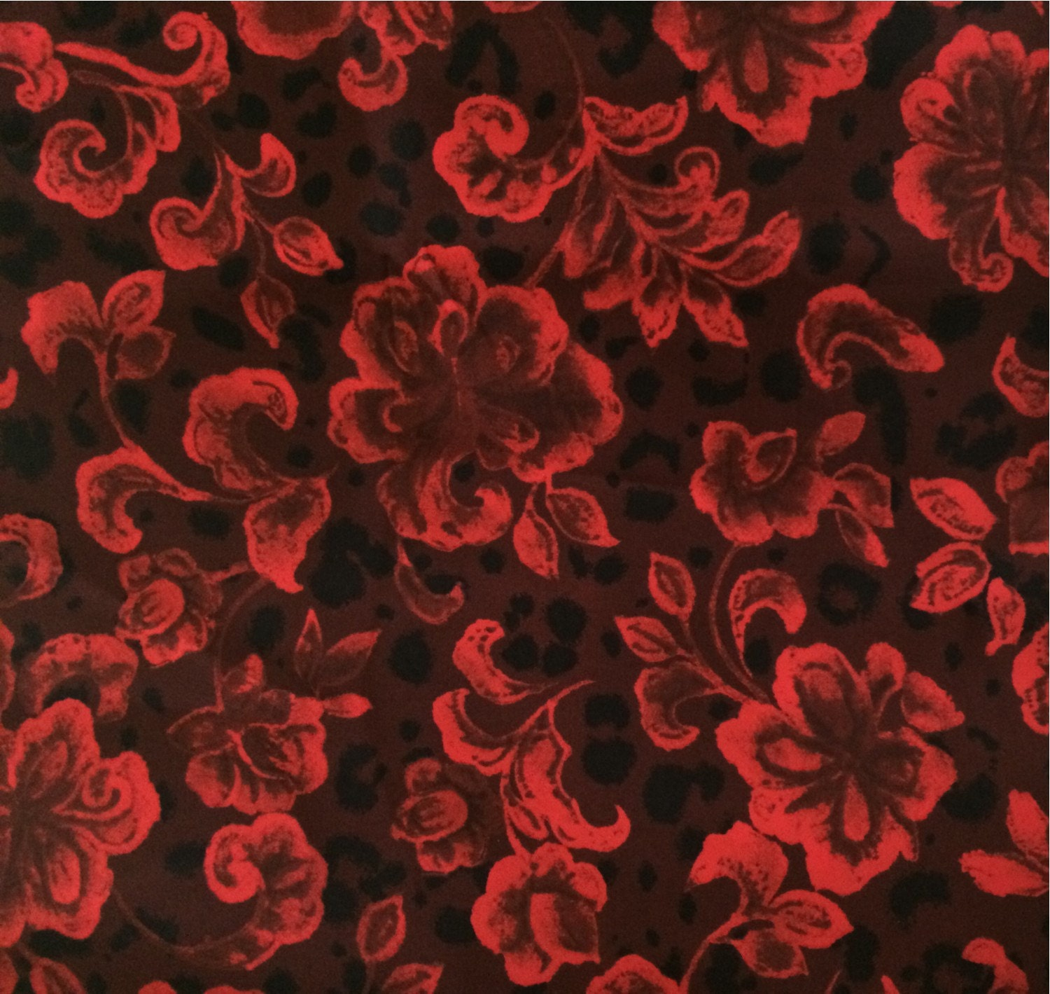 Red and Black Floral Polyester Fabric 4 Yards