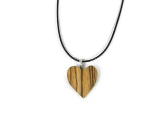 Zebra Wood Heart Necklace