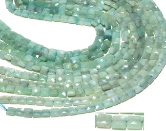 "GU-9813 - Natural Amazonite Faceted Square Beads - 8mm - Gemstone Beads - 16"" Full Strand"