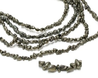 "GU-5838 - Pyrite Rough Nuggets - Approx.4X5mm - Gemstone Beads - 16"" Full Strand"