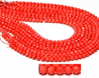 "GU-1866-2 - Orange Coral Faceted Round Beads - 6mm - Gemstone Beads - 16"" Full Strand"