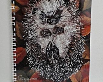 Hedgehog A5 Notebook - Snug as a Bug - 80 pages plain drawing cartridge paper laminated original hedgehog art ring bound notebook