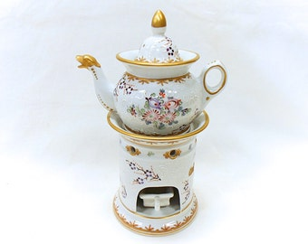Vintage 4 Piece Hand Painted Porcelain Herbal Teapot / Tisaniere FREE SHIPPING (B156)