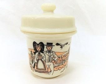 Opalex French Vintage Milk Glass Alsatian Decor Foie Gras Pot / Jar (B179)