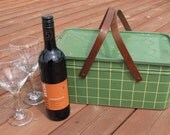 Metal Picnic Basket with Wooden Handles Green and Yellow Plaid