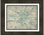 MAP of DALLAS Texas in a Vintage Grunge Weathered Antique style