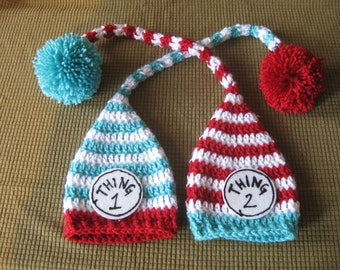 Crochet Baby Hat Two hats Elf Pixie StripedTwins