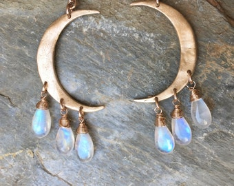Crescent Moon Earrings in Bronze and Rainbow Moonstone