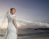 "Special listing for Julie single tier chapel veil simple veil with trim wedding veil bridal veil fingertip ""Katie"""