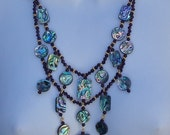 Abalone Shell Statement Necklace 20 inch Bib Necklace Sale 20%Off CouponCode SAVE20NOW