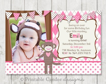 Girl Sock Monkey Birthday Invitation - Sock Monkey Birthday - Sock Money Invitation - Pink Sock Monkey Party - DIY Custom Printable