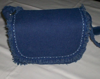 Hand-Crafted Fringy Denim Bag