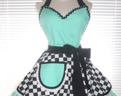 Retro Diner Apron Two Tiered Skirt Aqua Blue Paired With Black and White Checkered Extra Full Flirty Circular Skirts