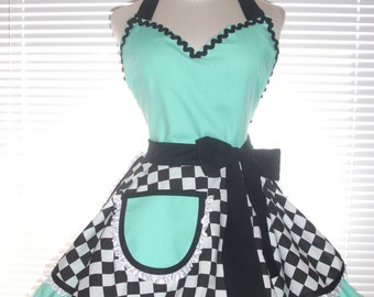 Costume Apron - Retro Diner Apron Two Tiered Skirt Aqua Blue Paired With Black and White Checkered Extra Full Flirty Circular Skirts