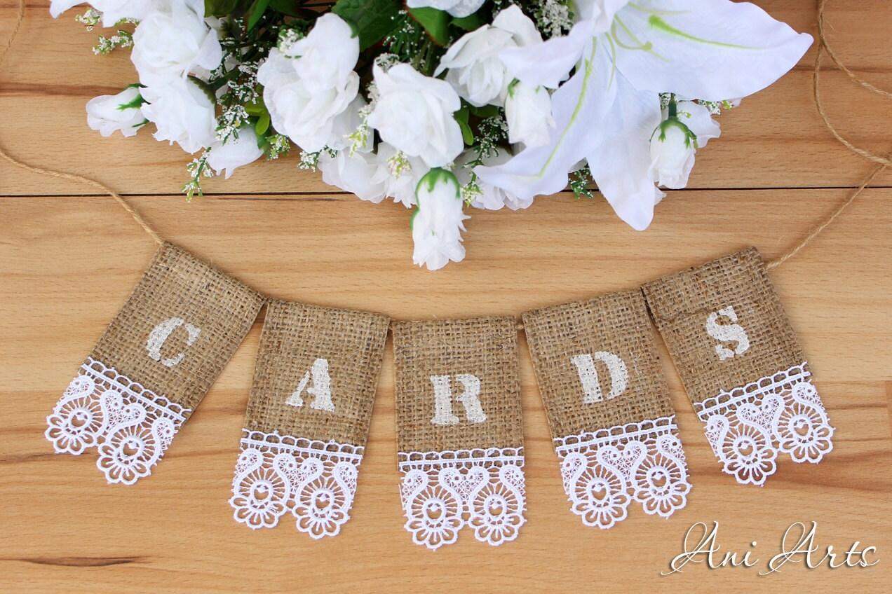 Wedding Cards Banner Burlap Bunting Rustic Wedding Banner For