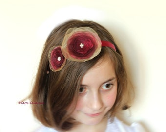Red Flower Girl Sash, Headband with Red Flowers, Red Wedding