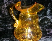Crackle Glass Minature Pitcher in Topaz by Kanawha