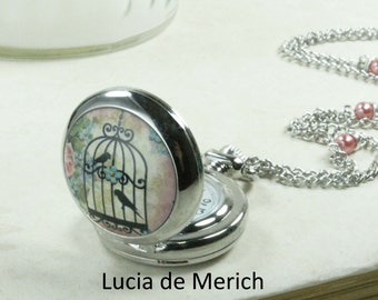 Victorian Garden Pocket Watch Necklace  - Birdcage necklace  - Coupon code - Mothers day gift