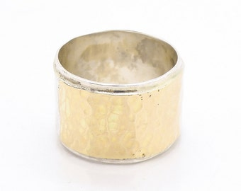 Wide hammered wedding ring silver & gold