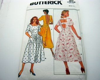 Sewing Pattern-Butterick 3847 Long  Low Back  Dress Size 6,8,10 Vintage 1986