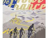 Retro Tour de France poster illustration print