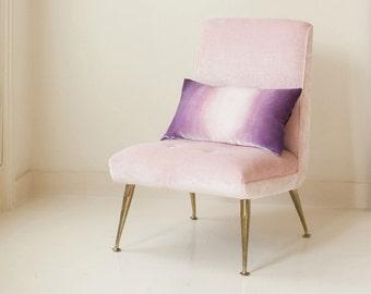 "Mauve/gray ombre painted velvet pillow cushion cover, ready to ship UK 12"" x 20"" (30cm x 50cm)"