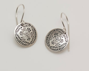 Petite Sterling Silver Etched Japanese 3-Lobe Wisteria Kamon Earrings