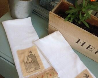 Old world sbabby chic tea towels, cotton flour sack towels, decrative tea towles/ Guest towels