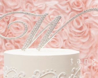 A-Z Initial SILVER Metal W Cake Toppers in Elegant Script Letter Style with the Fine Set-In Rhinestones