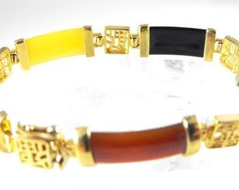 Vintage Bracelet Colorful Plastic Panels Gold Tone Metals Asian Style Design Costume Jewelry