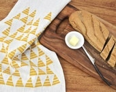 Modern Triangle Kitchen Linen Tea / Dish Towel - Oatmeal / Mustard