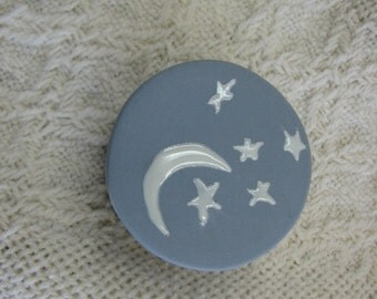 Stars and Moon porcelain ring/pill box