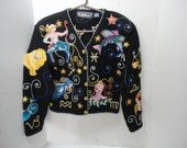 Vintage BellePointe Zodiac Astrology Horoscope Black Cardigan Sweater