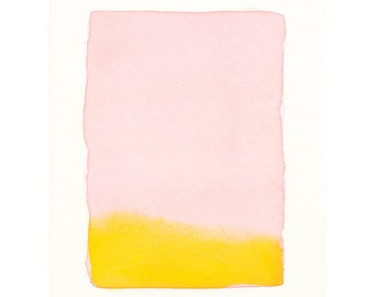 art for small spaces, pink to bright orange, one-of-a-kind smaller - scale watercolor painting