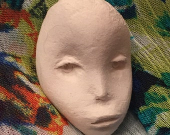 One of a kind unsealed paperclay dollhead
