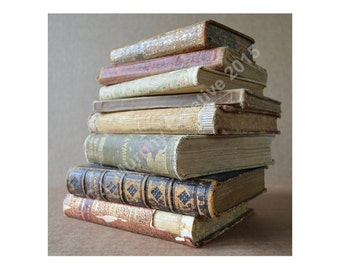 """Old Books Photograph Book Photography Antique Books 10 x 10"""" Print Book Lover Print"""