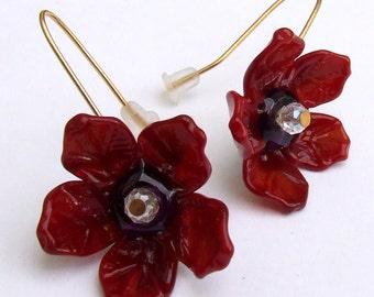 Lampwork Romantic Flower Earrings, Dark-Deep Red Flower Earrings, Beadart Earrings, Lampwork Jewelry, Glass Bead Jewelry, Made to Order !
